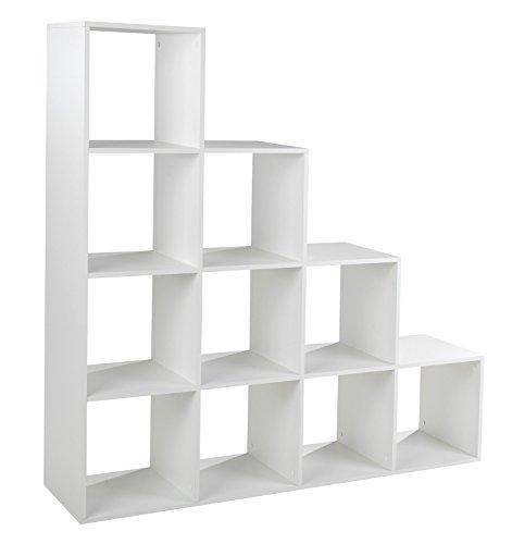 Treppenregal Stufenregal Raumtrenner Bücherregal   Weiß matt   10 Fächer