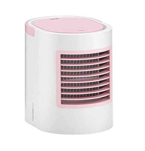 Personal Air Conditioning Fan, Personal Space Cooler Desktop Portable Mini verdamping luchtkoeler Spray Fan Air Conditioner 3 Speed ​​7 kleuren LED for kamer, kantoor, keuken (Color : Pink)