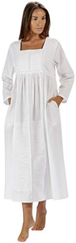 The 1 for U Nightgown 100% Cotton Womens Long Nightie with Pockets - Esther (White, Large)