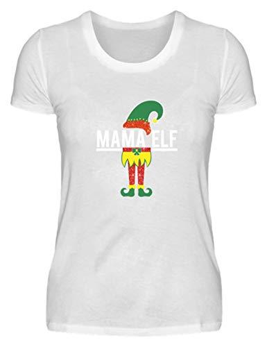 "Camiseta para mujer con texto en alemán ""Mamá Elfo, mamá, mamá, padres, elfo, espíritu de la naturaleza, sendas, cuentos de hadas, Albe, elbos, camiseta para mujer Blanco XL"