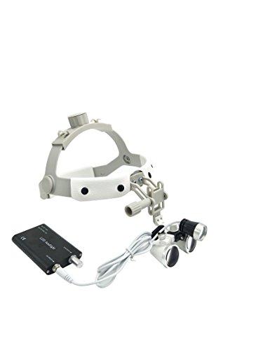 GoDen ヘッド式拡大鏡+LEDライト 双眼ルーペ クリップ式ライト 装着簡単 ホワイト (3.5倍)