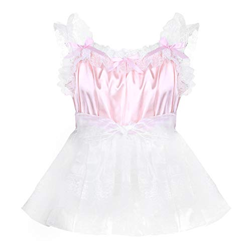 iEFiEL Men Adult Sissy Lingerie Soft Baby Doll Satin Slip Crossdress Nightdress Chemise Dress Pink XX-Large