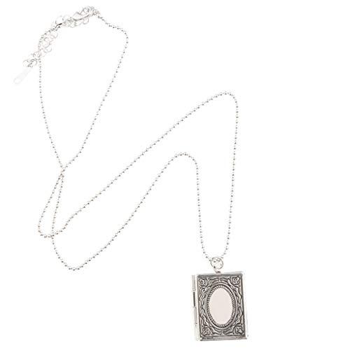 freneci Exquisito Medallón con Colgante de Libro con Colgante de Foto Y Cadena de Latón Grabado - Plata, Tal como se Describe
