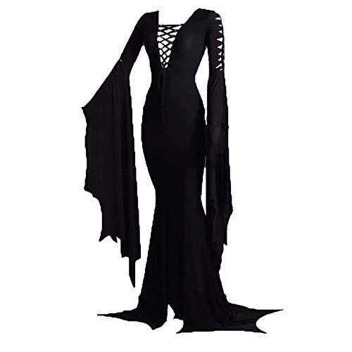 Frauen Morticia Addams Boden Kleid Kostüm Erwachsene Frauen Hexe Sexy Gothic Vintage Kleid für Halloween Karneval Party Kostüm