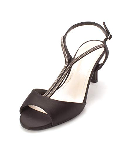 Caparros Womens Delicia Rhinestone Open Toe Evening Heels Black 9.5 Medium (B,M)