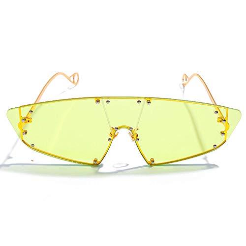 ZJMIYJ zonnebril, een stuk polygon, onregelmatig zonnebril, dames-zonnebril, studs 2019 geeltinten mannen zonder lijst