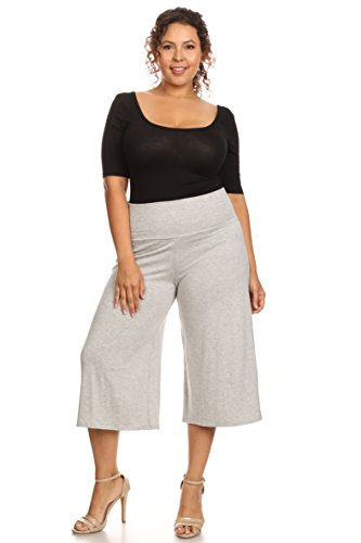 SHORE TRENDZ Plus Size Women's Gaucho Pants: Heather Grey (2XL)