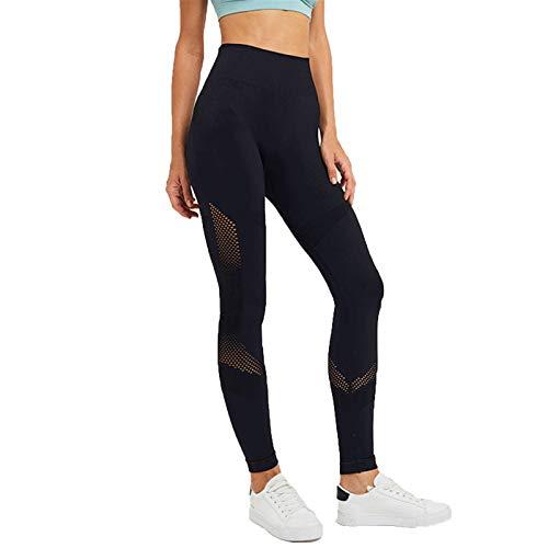 Pantalones de yoga sin costuras para mujer, cintura alta, control de barriga, pantalones de yoga, deportes, fitness, gimnasio, botín, mallas atléticas (color: negro, tamaño: grande)