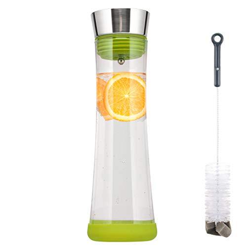 bremermann Glaskaraffe Carola mit Silikonfuß - zerlegbarer Deckel - 1 Liter (Grün)