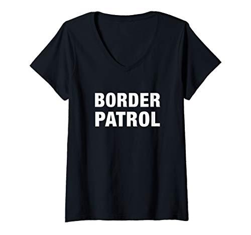 Womens Border Patrol Agent Halloween Costume US Immigration Officer V-Neck T-Shirt