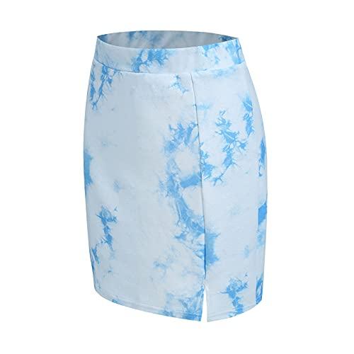 DRAGONHOO Women's School Uniform Mini Skirts Women's Elegant Office Lady Tie-Dyed Prints Pencil Skirt Short Dress Skirt Night Out Skirt Blue