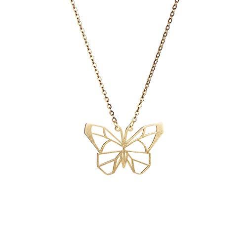 La Menagerie Schmetterling Gold, Origami-Schmuck & vergoldete geometrische Kette - 18-karätig Goldkette & Schmetterling-Halsketten - Schmetterling-Halskette für Frauen & Mädchen & Origami-Halskette