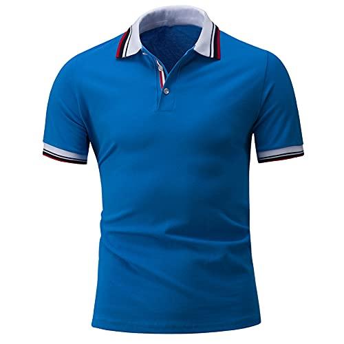Men T-Shirt Basic Striped Splicing Color Contrast Short-Sleeved Men Shirt...