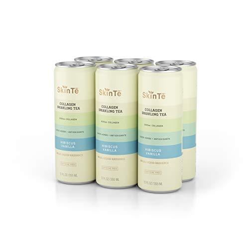 SkinTē Beauty Collagen Sparkling Tea - Super Herbs & Antioxidants. Non-GMO, Paleo-Friendly. Hibiscus Vanilla, 12oz. 6 Pack
