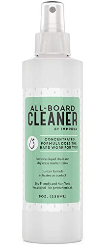Dry Erase / Chalkboard / White Board Cleaner Spray - Made in the USA - Safe, Gentle, Non-Toxic - Works with Marker, Chalk, Liquid Chalk and More - By Impresa Products