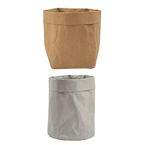 Fenteer 2pcs Sacs en Papier Kraft Pots de Fleurs Sacs de Rangement