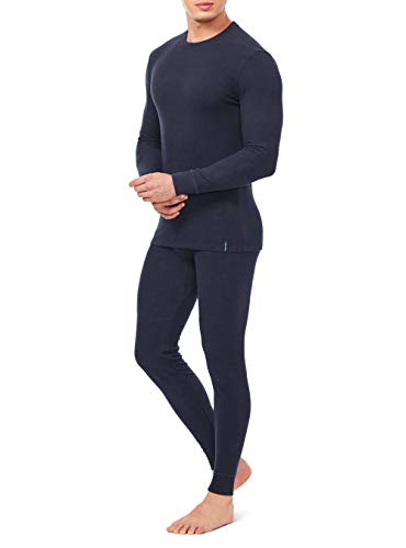 DAVID ARCHY Men's Ultra Soft Winter Warm Base Layer Top & Bottom Fleece Lined Thermal Set Long John (L, Heather Dark Blue)