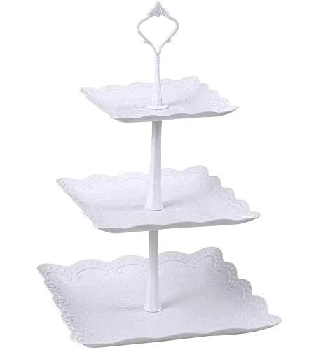 Soporte cuadrado de 3 niveles para tartas de plástico para fiestas, mesa de postre, bandeja para servir cupcakes, frutas, postres y aperitivos