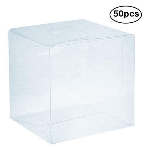 Clear PVC Plastic Boxes, 2 x 2 x 2 inch Plastic Gift Box Square Containers Transparent Packing Box for Party Favors, Wedding, Birthday Presents, Candy, Cupcakes, Jewelry, 50pcs