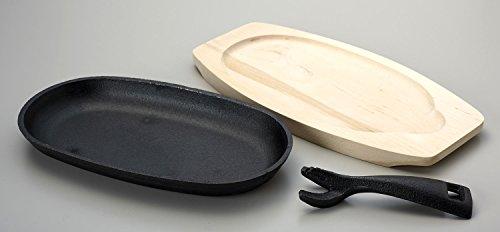 パール金属鉄鋳物小判ステーキ皿(割れにくい一枚板)24cm1枚組UH-9
