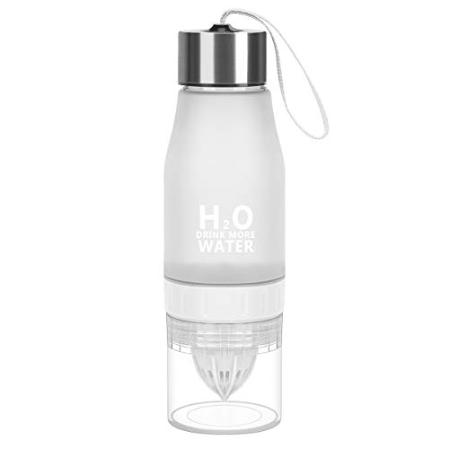 HANTAJANSS H2O Lemon Water Bottles, 18 OZ Tritan Leak Proof Juice Infuser for Sport, Outdoor, Cyclyling, Traveling.