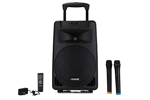 Croma 240 Watts Trolley Karaoke Bluetooth Party Speaker with 2 Wireless Mic and Remote (CREY3024 SFPX2000, Black)