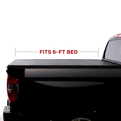 North Mountain Soft Vinyl Roll-up Tonneau Cover, Clamp on No Drill Top Mount Assembly w/Rails Mounting Hardware, Compatible with 05-20 Frontier 09-12 Suzuki Equator Pickup 6ft Bed
