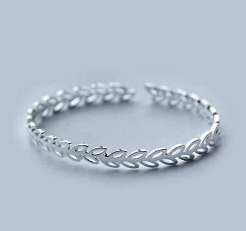ZKZDSL Armband,Trendige Mode Open Leaf Manschette Armbänder Armreifen Für Frauen Vintage Silber Schmuck Armband Geburtstag Geschenk Silber