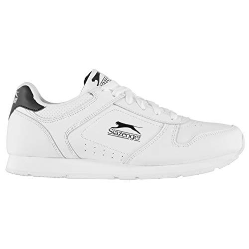 Slazenger Classic Herren Turnschuhe Leder Sneaker Sport Schuhe Schnuerschuhe Weiß/Schwarz 42 2/3 EU