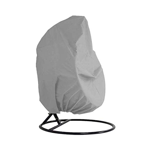 Garden Hanging Chair Cover Patio Cocoon Egg Chair Cover Waterproof Oxford Fabric Pod Swing Chair Protective Cover Dustproof with Drawstrings Grey Double 230x200cm