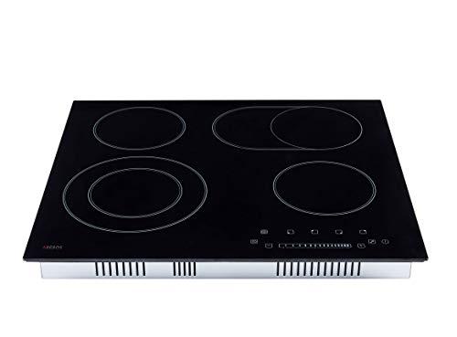 Arebos Kochfeld 4 Zonen mit Dual-Kochzone und Bräterzone: Glaskeramik, Sensor-Touch-Display, Slider, Autark, 9 Temperaturstufen, integrierter Timer, 59 cm