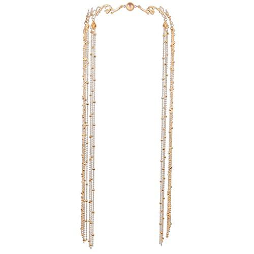 PHILSP Tocado de borlas Velo de borlas con Diamantes de imitación Múltiples Capas Borla Cadena de Cabeza Decoración Diadema Magníficos Accesorios para espectáculos de Danza Dorado