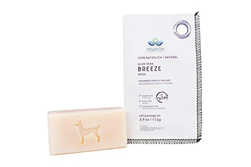 MISAVON Handseife BREEZE- Naturkosmetik mit AloeVera, 100% Naturseife mit ätherischen Ölen, Vegan, Handgemacht, 112g