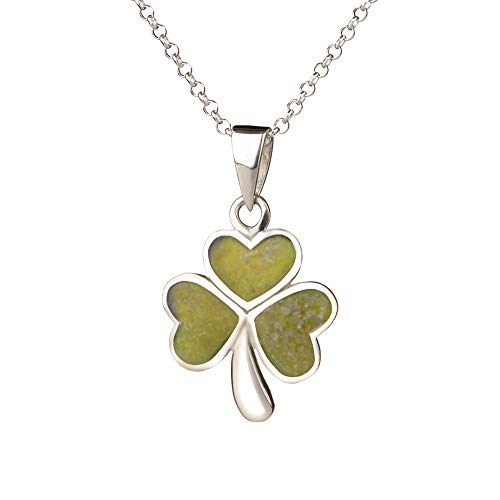 Irish Shamrock - Irische Kleeblatt Kette - Sterling Silber & Connemara Marmor
