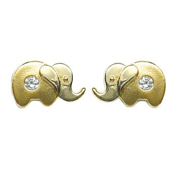 I-be, Elephant mit Zirkonia Ohrstecker, 14 k (585) Gold, 6x10 mm, 35585740901PS