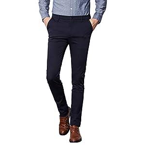 InnoBase ズボン スーツパンツ スラックス メンズ ストレッチ スリム スキニー ロングパンツ チノパン ウォッシャブル ノータック ボトムズ ビジネス カジュアル 通勤 美脚 細身 パンツ オールシーズン(SIZE:31, 9619ネービー)
