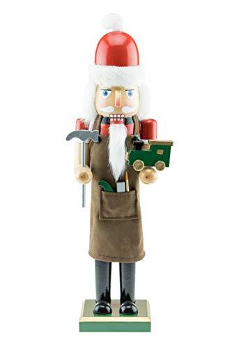 Clever Creations - Schiaccianoci Tradizionale in Legno - Babbo Natale giocattolaio - con Martello e Trenino Giocattolo - Decorazione Natalizia per Tavolo/mensola - Solido Legno - Altezza 38 cm