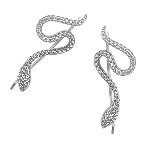 Joyería de plata de ley Quirky, diseño de serpiente oxidada (11 mm x 26 mm) (E248)