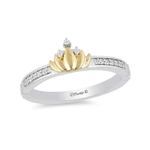 Jewelili Enchanted Disney Fine Jewelry Sterling Silver and 10K Yellow Gold 1/10CTTW Tiana Water Lily Ring size 7