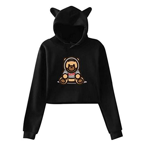 BAOQIN Sudadera con Capucha Umbilical expuesta del Oso Ozuna para Mujer, suéter con Capucha de Oreja de Gato de Manga Larga para niñas