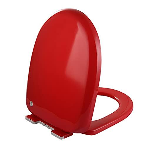 SunLin Asiento De Inodoro Espesar, Tapa WC Dedicado En Forma De U, Toilet Seat Cierre Lento, Fácil De Instalar Y Limpiar, Bisagra De Calidad, Desmontaje Rápido, Fuerte Y Robusto