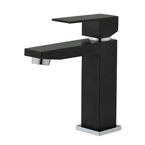 Grifo monomando de lavabo, diseño cuadrado, color negro
