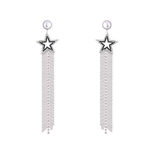 HJHJ Pendientes de moda largos borla pendientes de flecos estrella cuelgan pendientes de perlas pendientes finos hechos a mano bohemia pendientes decoración