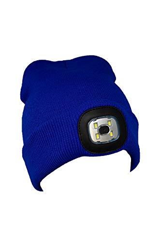 Benera muts met licht 4 LED hoofdlamp licht op batterijen 3 helderheidsniveaus 120 lumen wasbaar warm