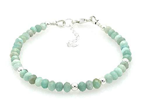 Pulsera de amazonita turquesa, plata 925, joyas artesanales, estilo minimalista, piedras de nacimiento de marzo, regalo para mujer