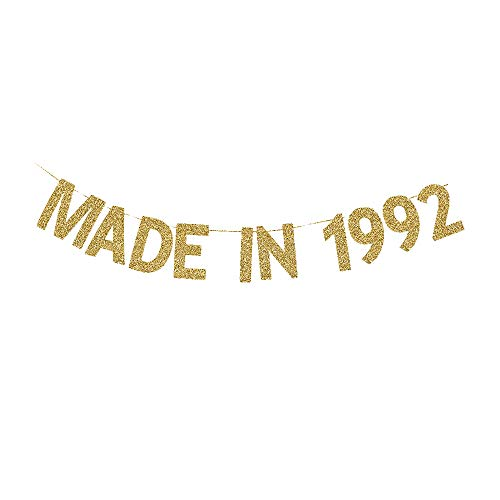 Made in 1992 Banner, Gold Gliter Paper Sign for 29th Birthday Party Decorations, 29th Bday Backdrops