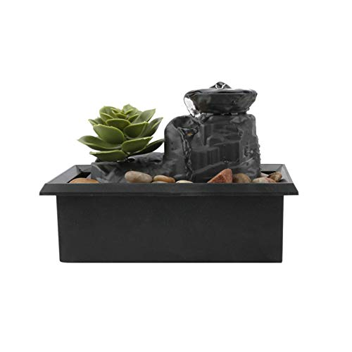 Fuente de agua de mesa con luces LED, fuente de agua de adorno de adoquines para interiores, fuente de agua de rocalla de simulación de escritorio de meditación zen para decoración de oficina y hogar