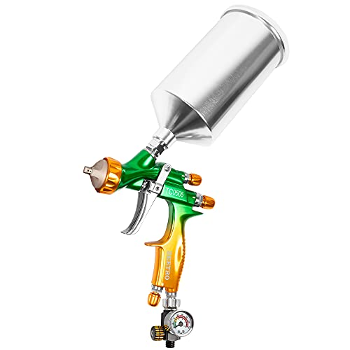 BEETRO HVLP Professional Gravity Feed Air Spray Gun, 280-320mm Wide Spray Pattern 1000ml Capacity 14CFM 29psi, 1.4mm Nozzle with Air Regulator, 1/4 Adaptor and Filter
