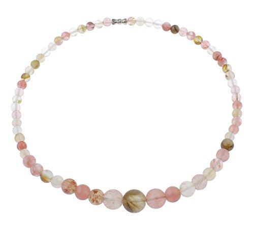 Vifaleno Collar de Piedras Preciosas Joyas, Sandía, Esférico, 6mm-14mm