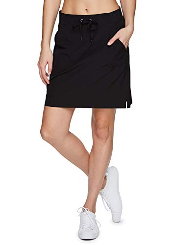 RBX Active Women's Fashion Longer Length Drawstring Waist Stretch Woven Golf/Tennis Athletic Skort with Attached Bike Shorts and Pockets High/Low Black S